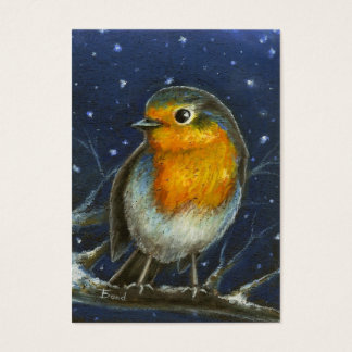 Robin in de druk van sneeuwaceo visitekaartjes