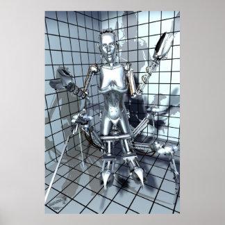 Robot in een Zaal van het Net Poster