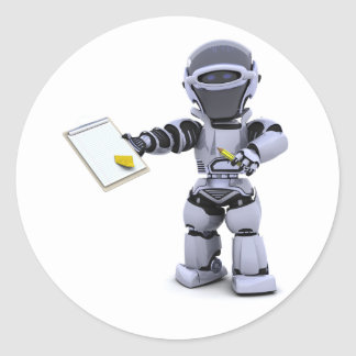 Robot met de Stickers van een Klembord