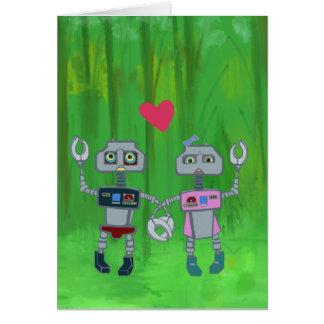 Robots in het Wenskaart van de Liefde