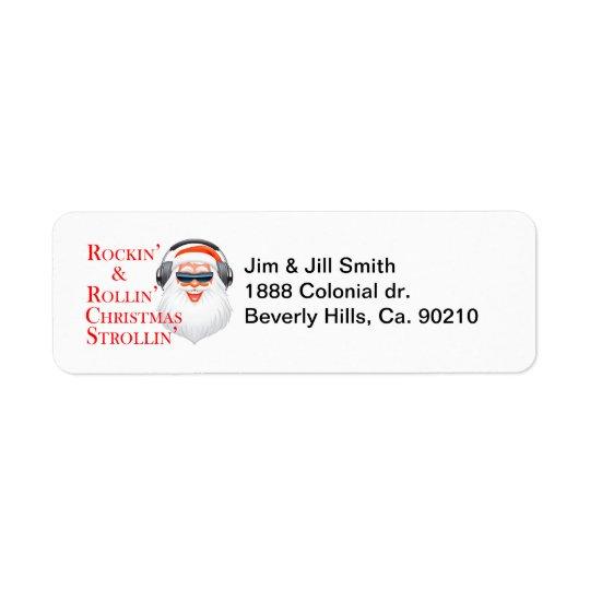 Rockin de Koele Kerstman met Hoofdtelefoons Etiket