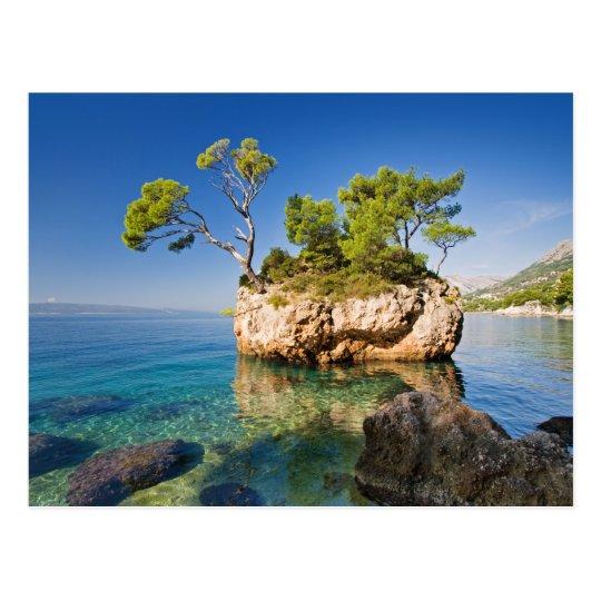 Rocks, sea and a tiny island briefkaart