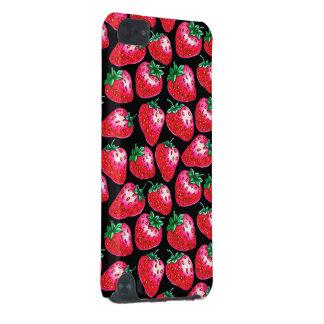Rode aardbei op zwarte achtergrond iPod touch 5G hoesje