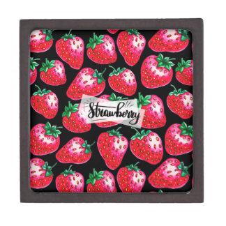 Rode Aardbei op zwarte achtergrond Premium Cadeau Doosje