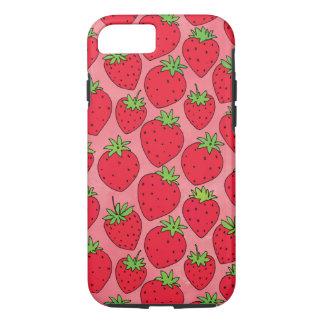 Rode Aardbeien op Roze iPhone 8/7 Hoesje