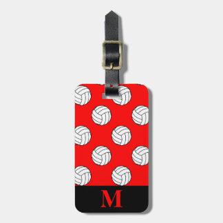 Rode Ballen van het Volleyball van het monogram de Kofferlabel