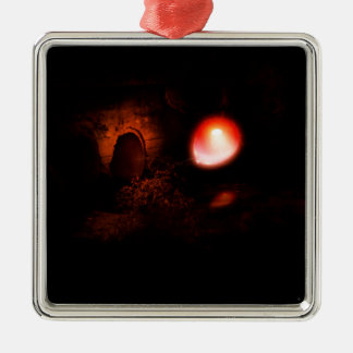 Rode Ballon en Culvert2 Zilverkleurig Vierkant Ornament