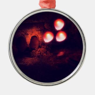 Rode Ballon en Duiker Zilverkleurig Rond Ornament