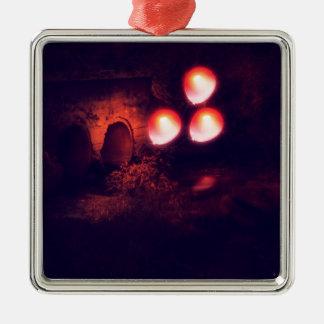 Rode Ballon en Duiker Zilverkleurig Vierkant Ornament