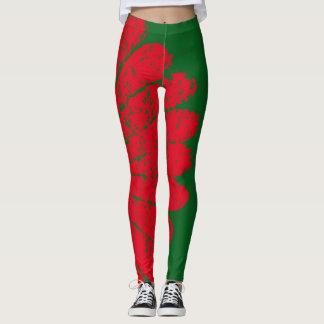 rode bloem leggings
