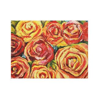 Rode bloem stretched canvas afdrukken