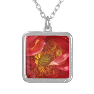 rode bloemblaadjes zilver vergulden ketting