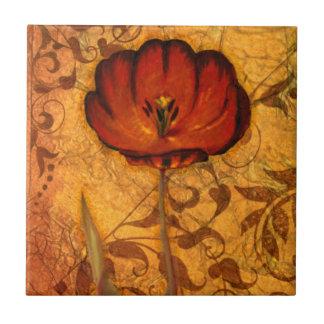 Rode Bloemen I Tegeltje