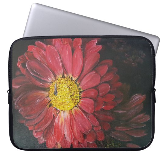 Rode bloemen laptop sleeves