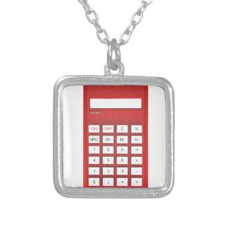 Rode calculatorcalculator zilver vergulden ketting