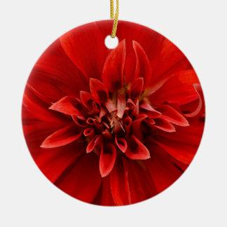 Rode dahliabloem rond keramisch ornament