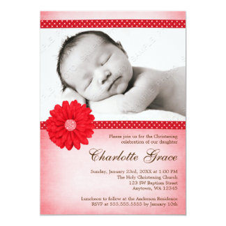 Rode Daisy Sparkle Photo Baptism Christening 12,7x17,8 Uitnodiging Kaart