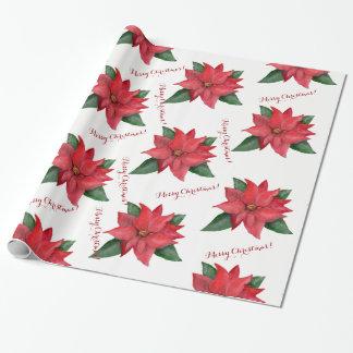 Rode de poinsettiabloem van Kerstmis en uw Cadeaupapier