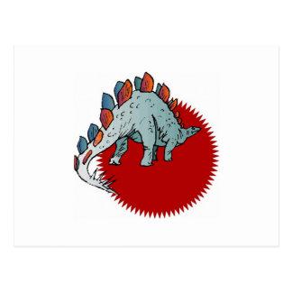 Rode dinosaurus wenskaart