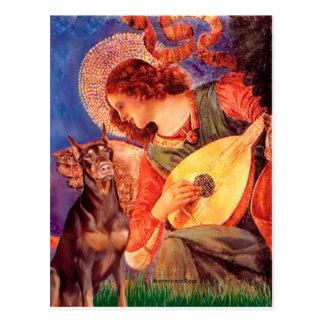 (Rode) Doberman - de Engel van de Mandoline Briefkaart