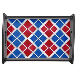 Rode en Blauwe Muur Betegelde Symmetrie Dienblad