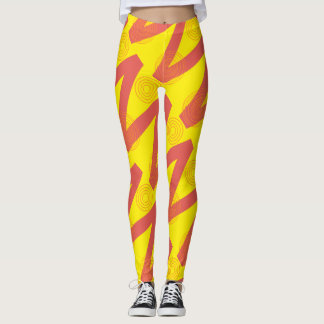 Rode en gele beenkappen leggings