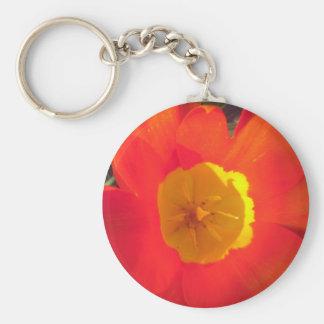 Rode en gele open tulpenbloem sleutelhanger