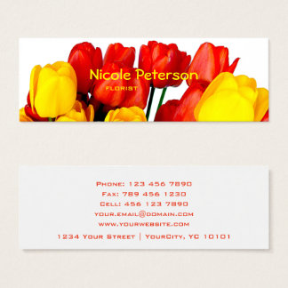 rode en gele tulpen - bloemist mini visitekaartjes