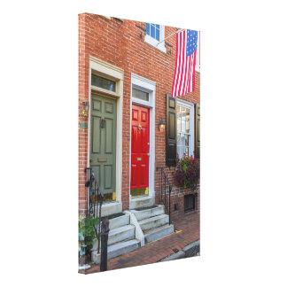 Rode en Groene Deur op de Steeg van Philadelphia Canvas Afdruk