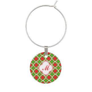 Rode en Groene Kerstmis Quatrefoil van het Wijnglas Ringen