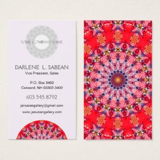 Rode en Roze Caleidoscoop Mandala Visitekaartjes