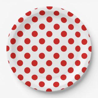 Rode en witte stippen papieren bordje