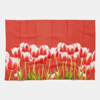 Rode en witte tulpen theedoek