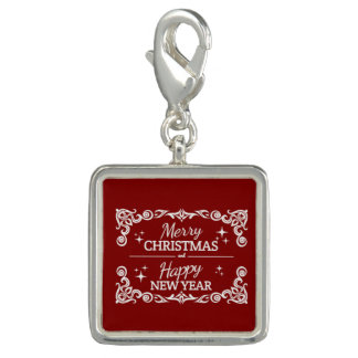 Rode en Witte Vrolijke Kerstmis en Gelukkig Charm