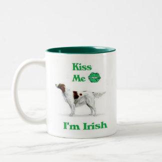 Rode en Witte zetter-Kus me ben ik Iers Tweekleurige Koffiemok