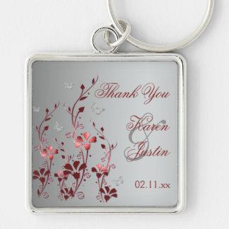 Rode en Zilveren Bloemen met Vlinders Keychain Zilverkleurige Vierkante Sleutelhanger