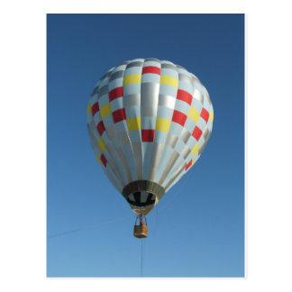 rode en zilveren hete luchtballon briefkaart