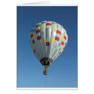 rode en zilveren hete luchtballon wenskaart