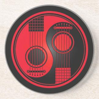 Rode en Zwarte Akoestische Gitaren Yin Yang Zandsteen Onderzetter