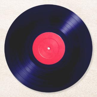 Rode etiket vinylfaux ziet eruit ronde onderzetter