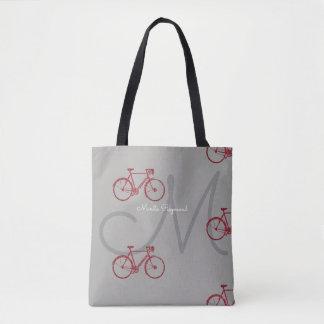 rode fietsen met naam en aanvankelijk op grijs draagtas