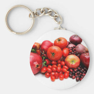 Rode Fruit en Groenten Basic Ronde Button Sleutelhanger