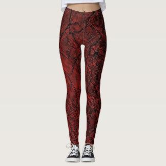 Rode Gebarsten Marmering Leggings