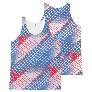 Rode Gehaakte Wit en het Blauw kijkt All-Over-Print Tank Top