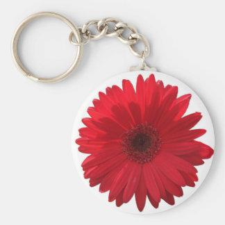 Rode Gerber Daisy Keychain Basic Ronde Button Sleutelhanger