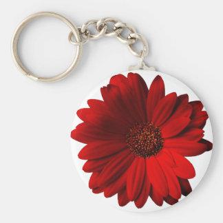 Rode Gerbera Daisy Basic Ronde Button Sleutelhanger