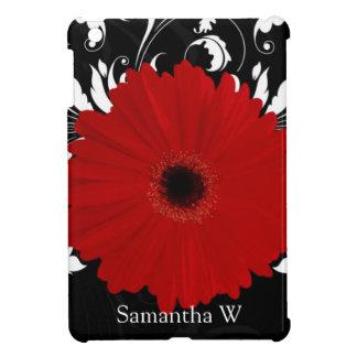 Rode Gerbera Daisy met Zwart-witte Werveling iPad Mini Covers