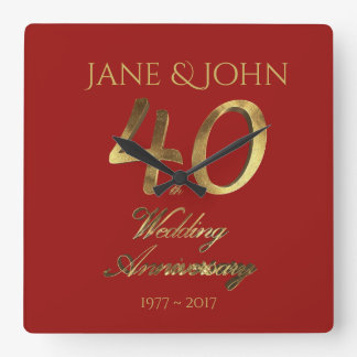 rode Goud van het Huwelijk van het 40ste Jubileum Vierkante Klok