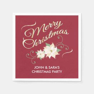 Rode & Gouden Vrolijke Kerstmis & Witte Poinsettia Wegwerp Servetten