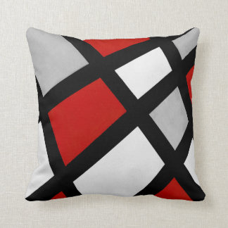 Rode Grijze Zwarte Witte Geometrisch Sierkussen